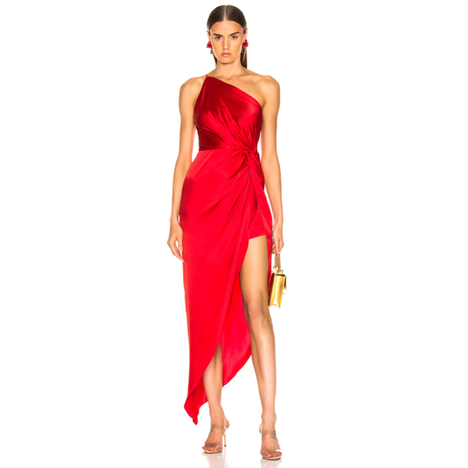 Adyce 2019 New Summer One Shoulder Women Dress Sexy Sleeveless Ruffles Red Club Dress Celebrity Evening Maxi Elegant Party Dress