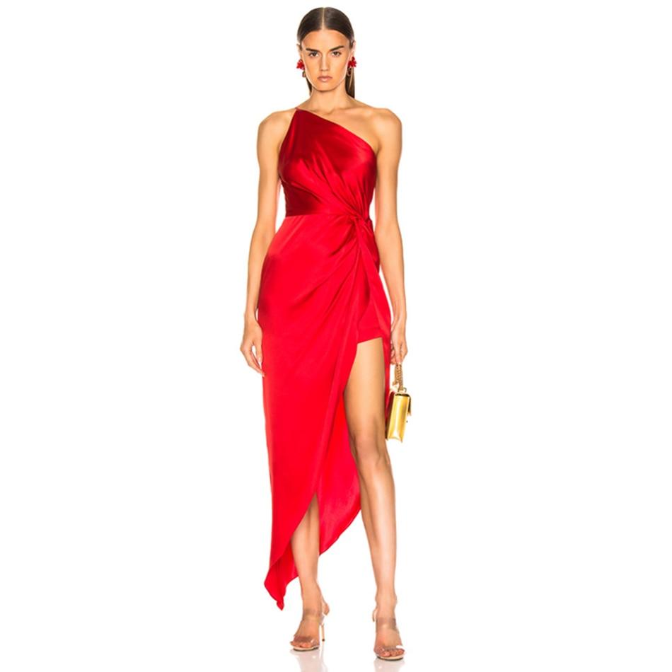 Adyce 2020 New Summer One Shoulder Women Dress Sexy Sleeveless Ruffles Red Club Dress Celebrity Evening Maxi Elegant Party Dress Dresses     - title=