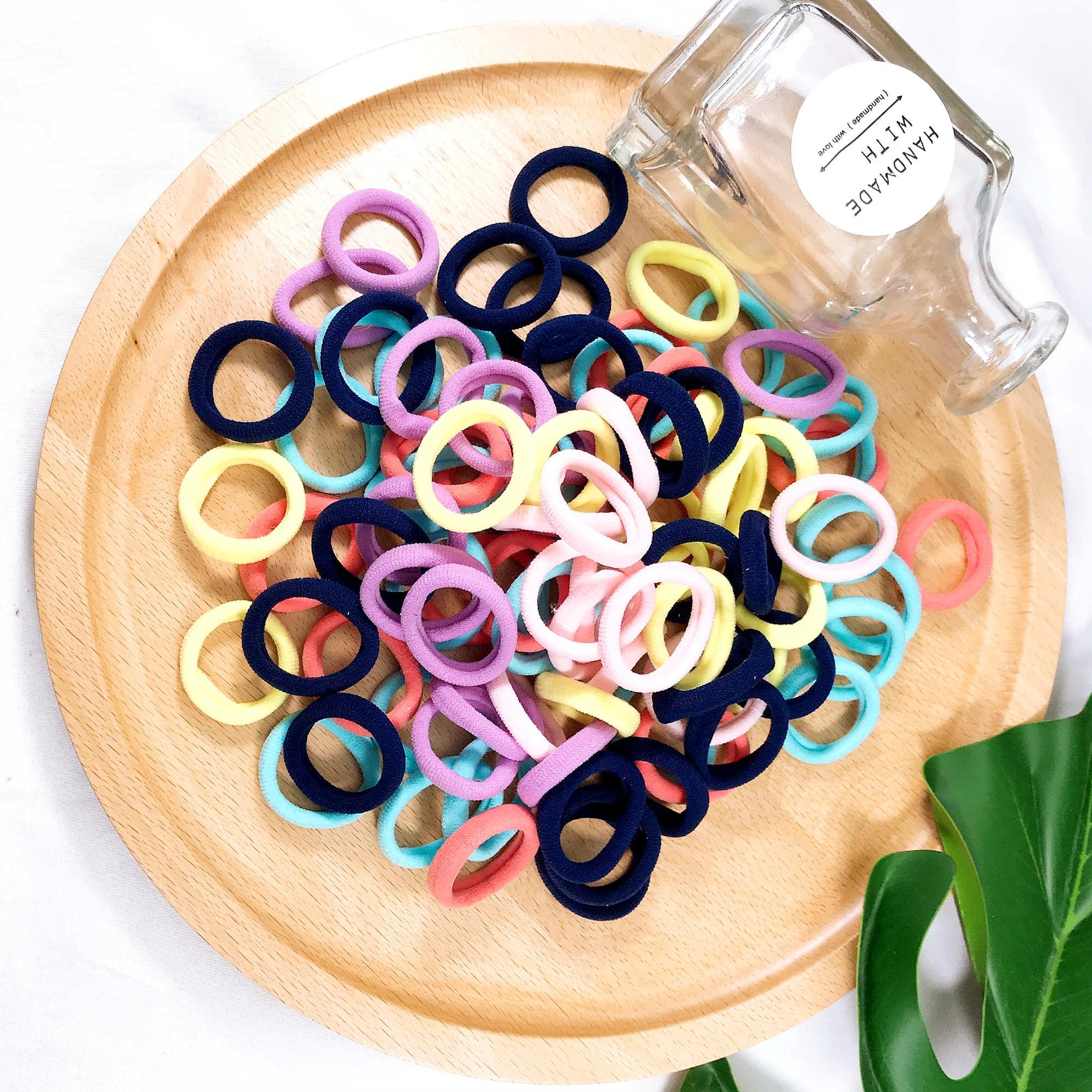 10PCS Fashion Colorful 3cm Mini Rubber Band Cotton Hair Bands Women Small Elastics Girl's Tie Gum Hair Accessories