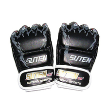 SUTEN Black Fighting MMA Boxing Gloves Leather Sports Tiger Paw Muay Thai Sanda Punching Fighting Training mma Glove Pads цена
