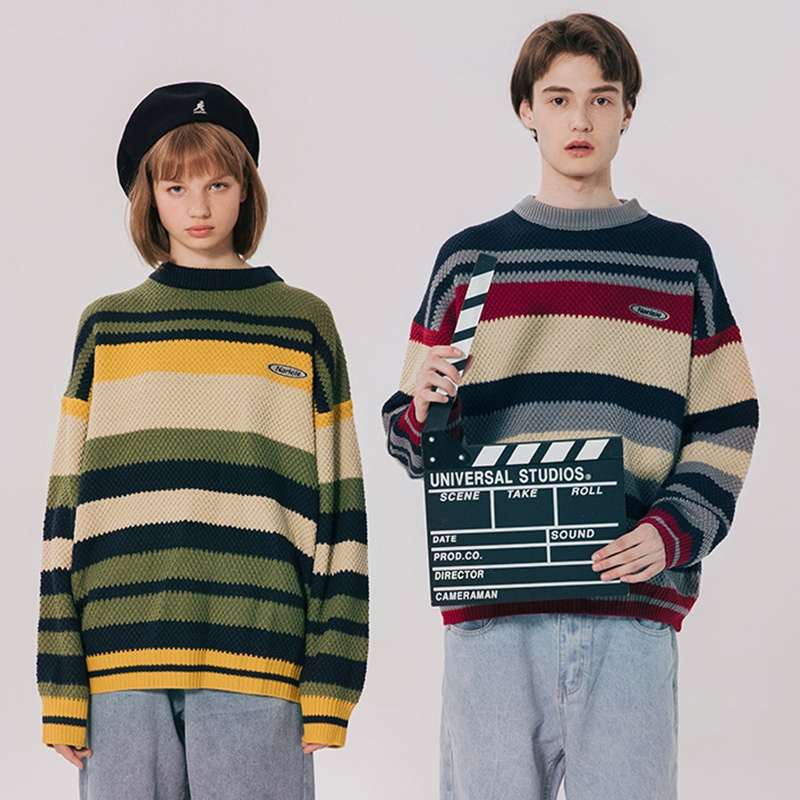 Retro Knitted Sweater Men Streetwear Retro Striped Harajuku Sweaters Lovers Knitwear Rainbow Sweater Men O-neck Pullovers