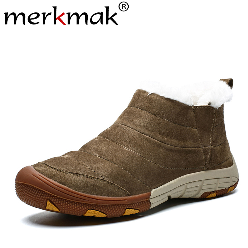 Merkmak Winter Men Shoes Warm Non-slip Ankle Booties 2019 New Round Toe Casual Shoes Waterproof Big Size Male Winter Booties