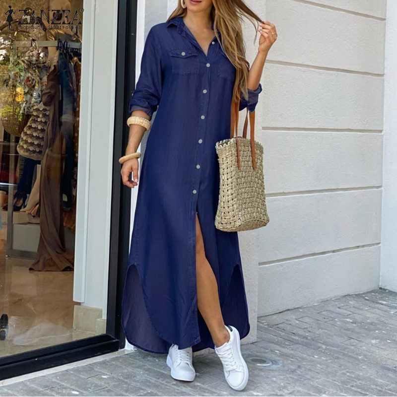 ZANZEA kadınlar uzun Maxi elbise Casual katı düğmeleri uzun gömlek Vestidos pamuk keten Sundress yaka boyun parti plaj elbiseleri