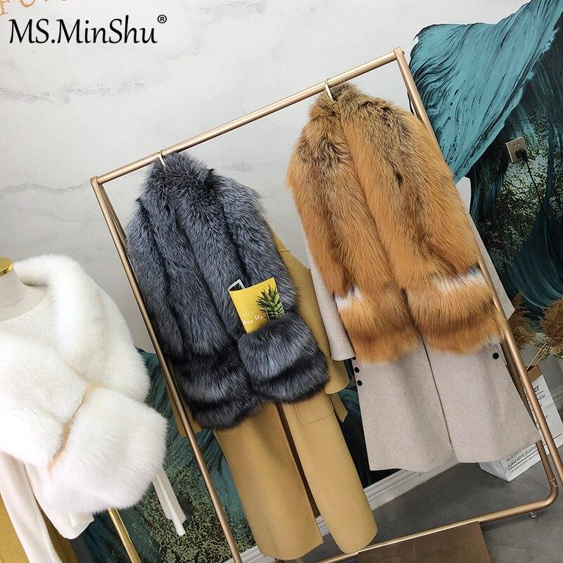 MS.MinShu bufanda de piel de zorro de lujo gran bufanda de piel de zorro Natural estola de piel de zorro genuino chal de bolsillo Vestidos de Noche de moda - 3