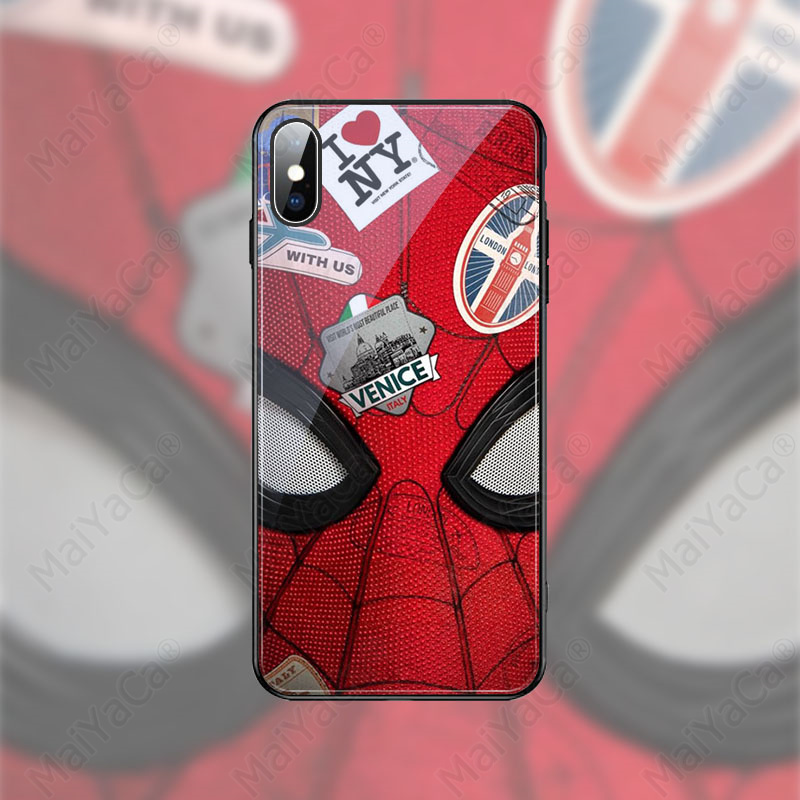 MaiYaCa Marvel Spiderman Black Soft Shell Phone Cover for Apple iPhone 8 7 6 6S Plus X XS MAX XR Cover in Half wrapped Cases from Cellphones Telecommunications