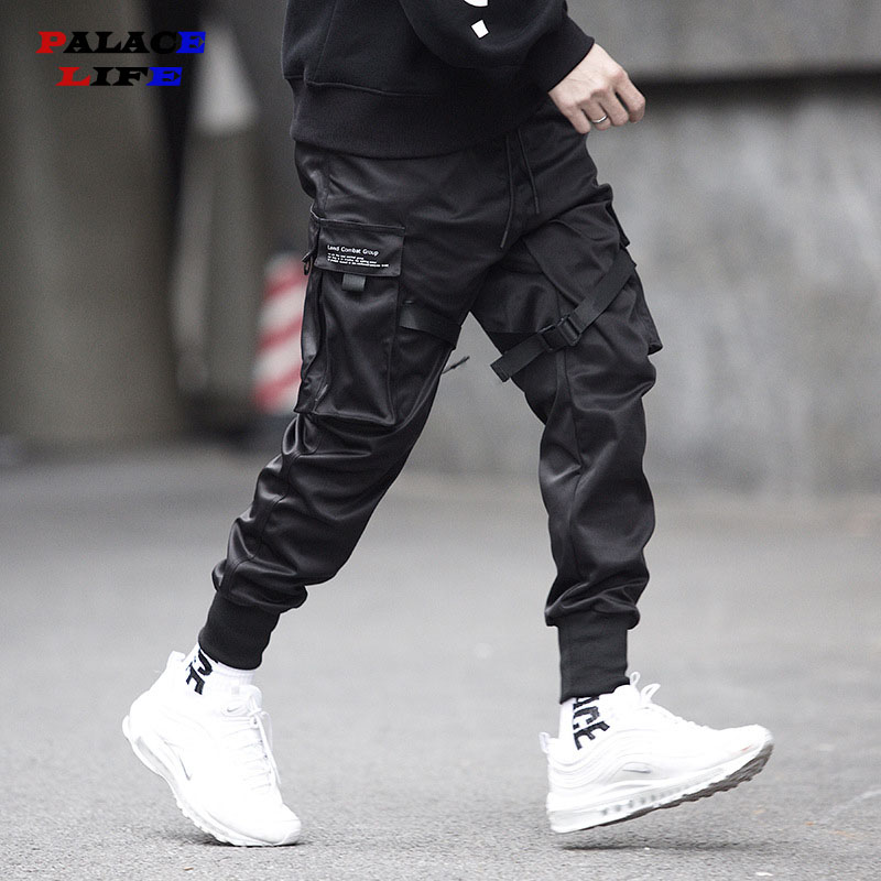 2020 Spring Hip Hop Joggers Men Black Harem Pants Multi-pocket Ribbons Man Sweatpants Streetwear Casual Mens Pants M-5XL