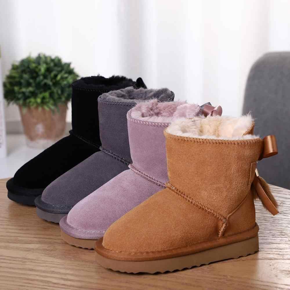 HABUCKN avustralya hakiki deri moda kızlar kış kar botları çocuk sıcak kış çocuk ayakkabıları kolye püskül alacakaranlık ayakkabı