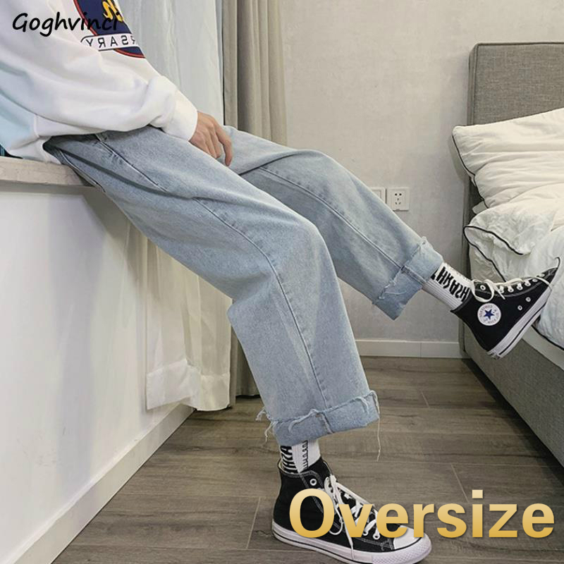 Jeans Women Chic Solid Simple Plus Size 5XL Loose Oversize Wide Leg Denim Trousers Womens Harajuku Streetwear All-match Ulzzang