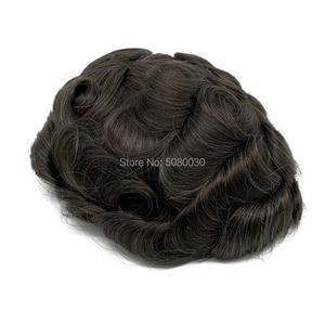 Image 5 - חדש בסיס עיצוב מניית רמי שיער פאה תחרה סביב pu גברים פאה