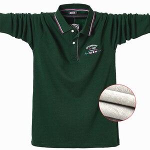 Image 1 - Camisa polo casual quente térmica camisa polo de manga longa masculina 2020 novo inverno algodão bordado plus size t superior 5xl
