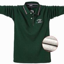 Koszulka Polo na co dzień ciepłe termiczne koszulki Polo męska koszulka Polo z długim rękawem 2020 nowa zimowa bawełniana haftowana Plus rozmiar koszulki 5XL