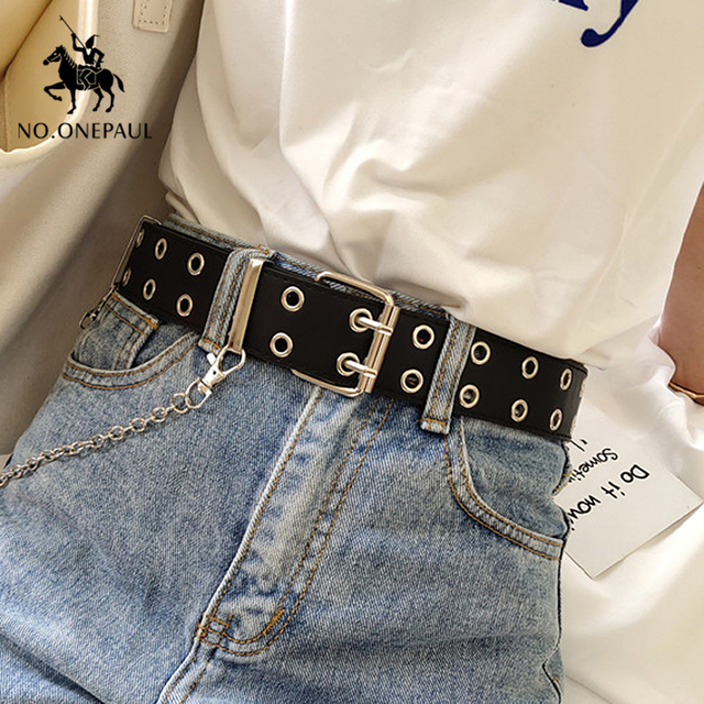 Genuine Leather New Punk style fashion Pin Buckle Decorative Chain luxury brand belts for women