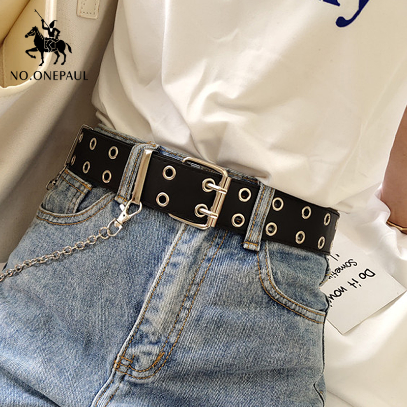 NO. ONEPAUL cinghia delle donne Del Cuoio Genuino di Nuovo Punk di modo di stile Spille Fibbia dei jeans Cintura Decorativa Catena cinture di marca di lusso per le donne