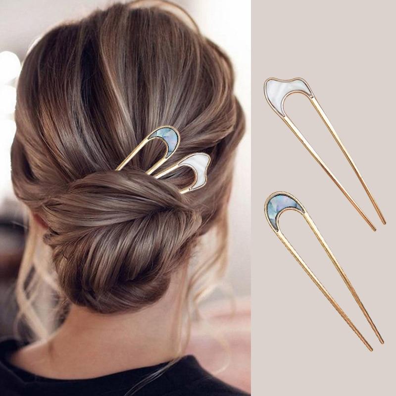 Минималистичные металлические женские шпильки для волос из сплава в виде ракушек