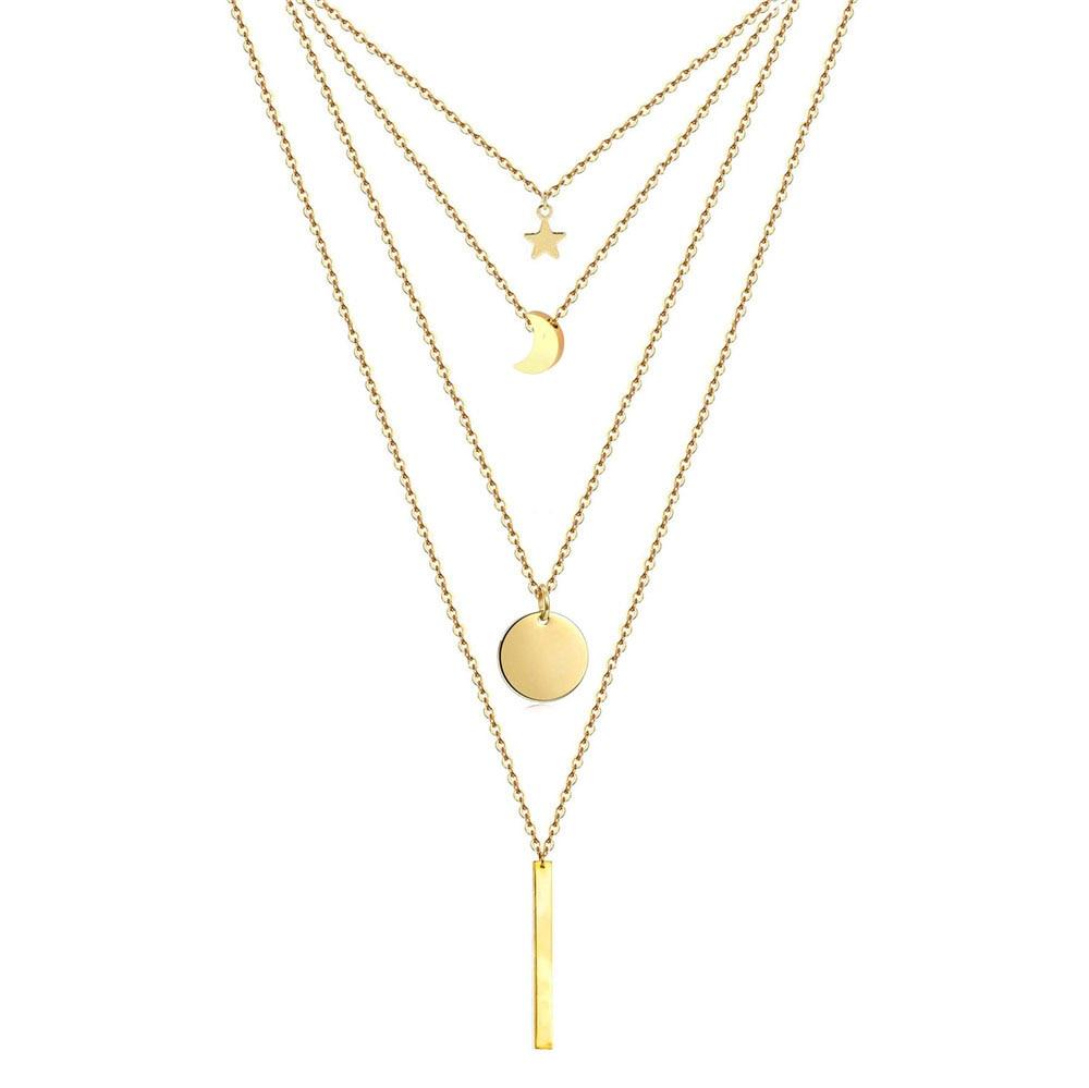 Цепочка из нержавеющей стали пятиконечная звезда круглая монета Луна бар подвески ожерелья для женщин многослойные ожерелья