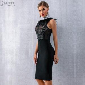 Image 4 - Adyce 2020 새로운 여성 Bodycon 붕대 드레스 민소매 검은 깃털 구슬 럭셔리 다이아몬드 연예인 이브닝 파티 클럽 드레스