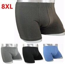 Tamanho grande cuecas boxers masculinos plus size algodão absorvente suor cantos tamanho grande shorts respirável algodão roupa interior 8xl 7xl