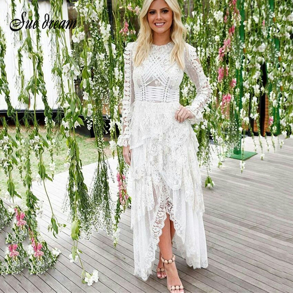 2019 New Spring Women Dress Long Sleeves O Neck Lace Dress Sexy Bodycon Elegant Celebrity Party White Dresses Vestidos
