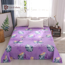 Liv-Esthete Fashion Turtle Leaf Purple Flat Sheet Printed Bed Linen Double Queen King Cover For Children Adult