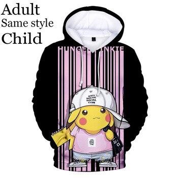 Anime Hoodies 3D Printed Pokemon Pikachu Hoodie Men's And Women's Sweatshirts Adult Kids Hooded Casual Boys And Girls Pullovers