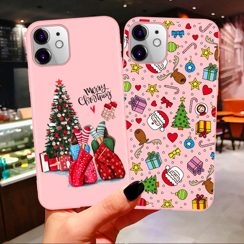 Merry Christmas Vogue Girl Case For Iphone 11 Pro Max 2020 New Year Pink Soft Cover For Iphone X 6 6S 7 8 Plus Xs XR XS MAX