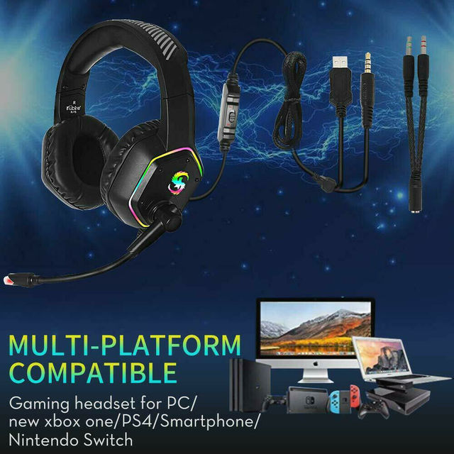 Professional Games Earphones LCD Portable HIFI Headset With Microphone Wired Headphones Audio Adjustable For PC phone 3