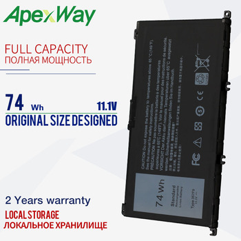 Apexway 11.1V 74WH 357F9 Battery For Dell Inspiron 15- 7000 7559 7557 7566 7567 5576 INS15PD-1548B INS15PD-1748B INS15PD-1848B
