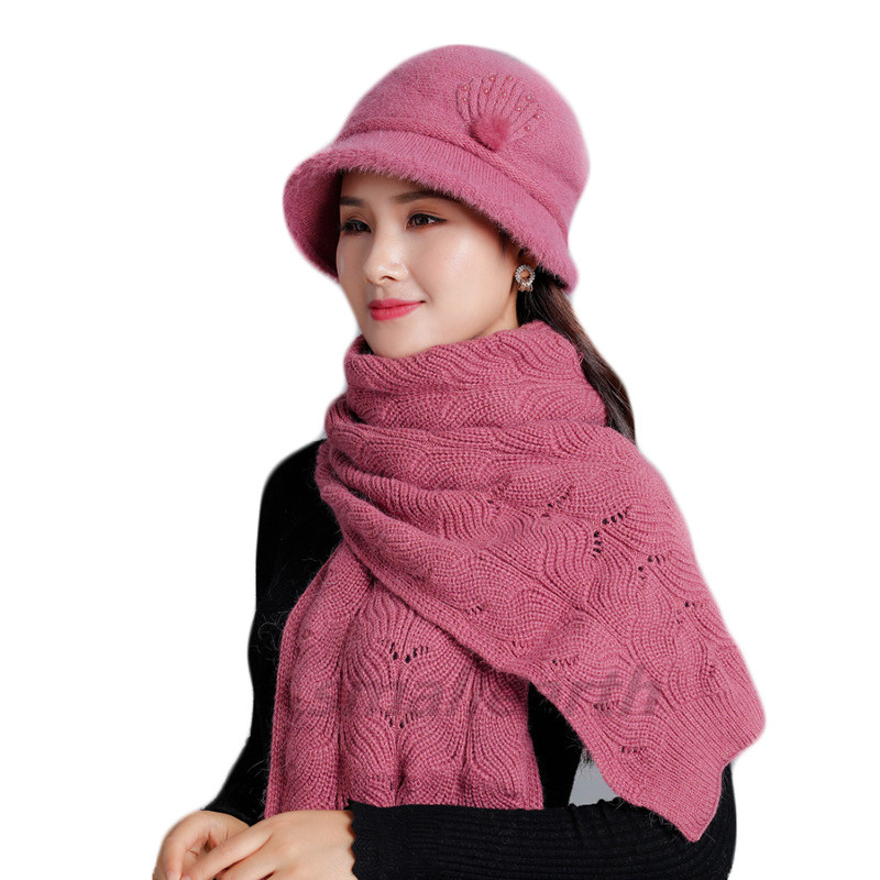 Women Knitted Hat With Scarf Sets Female Thickening Cap Scarf Shawl Set Warm Windproof Outdoor Snow Hat Sets For Women Ladies
