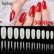 Florvida 500pcs Set Oval Fake Nails Long Ellipse Acrylic False Nail Art Tips Natural Clear Design for Manicure Kit