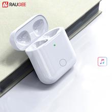 Etui z funkcją ładowania zamiennik dla Airpods 1 i 2 Qi bezprzewodowe etui z funkcją ładowania dla Airpods 450mAh ładowarka z przyciskiem synchronizacji parowania Bluetooth tanie tanio raugee CN (pochodzenie) Pudełka 1 6*0 8*2 2 inch Wireless Charger box For Airpods Z tworzywa sztucznego Wireless Charging box For Airpods 1 2