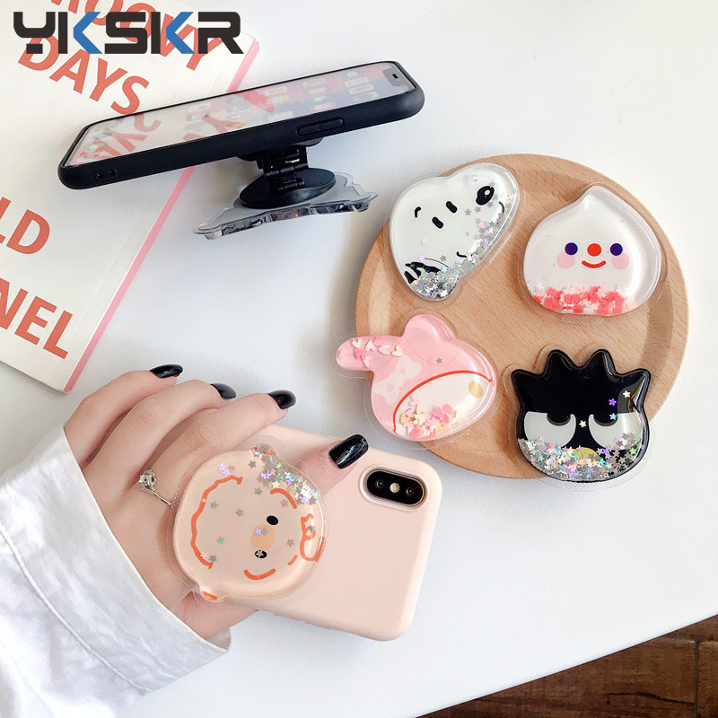 Squishy Cartoon Quicksand Liquid Lovely Kids Phone Holder Portable Bracket Adjustable Folding Stander For IPhone Xiaomi Huawei