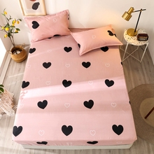 3 pcs Fitted Sheets Heart-shaped Pattern Bed Sheet Reactive printed Bedspread Twin/Full/Queen/King Size Bedding Mattress Cover