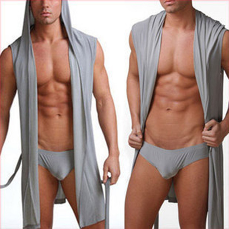 New Men Sexy Bath Robe Hooded Pajamas Sleepwear Superthin Smooth Bathing Gown Comfortable Home Tops Wear Sleepwear S-4XL