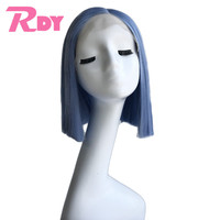 RONGDUOYI Short Silky Straight Synthetic Bob Wig light Blue High Temperature Fiber Hair Lace Front Wigs for Women with Side Part