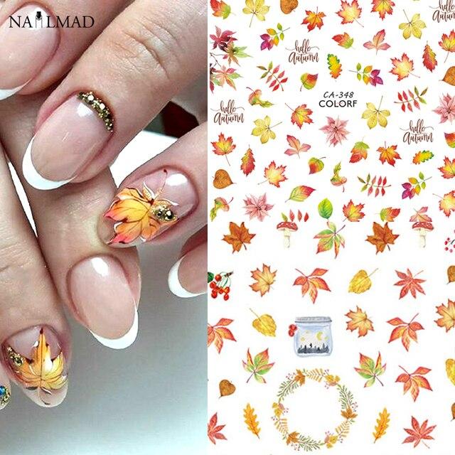 1 vel Nail Art 3D Decals Esdoorn Bladeren Herfst Thema Nail Sliders Decor Tips Blad Sticker Voor Nail Art