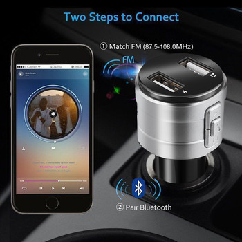 top selling 2020 Bluetooth Car USB Charger FM Transmitter Wireless Radio Adapter MP3 Player 3.4A Support Wholesale Dropshipping image