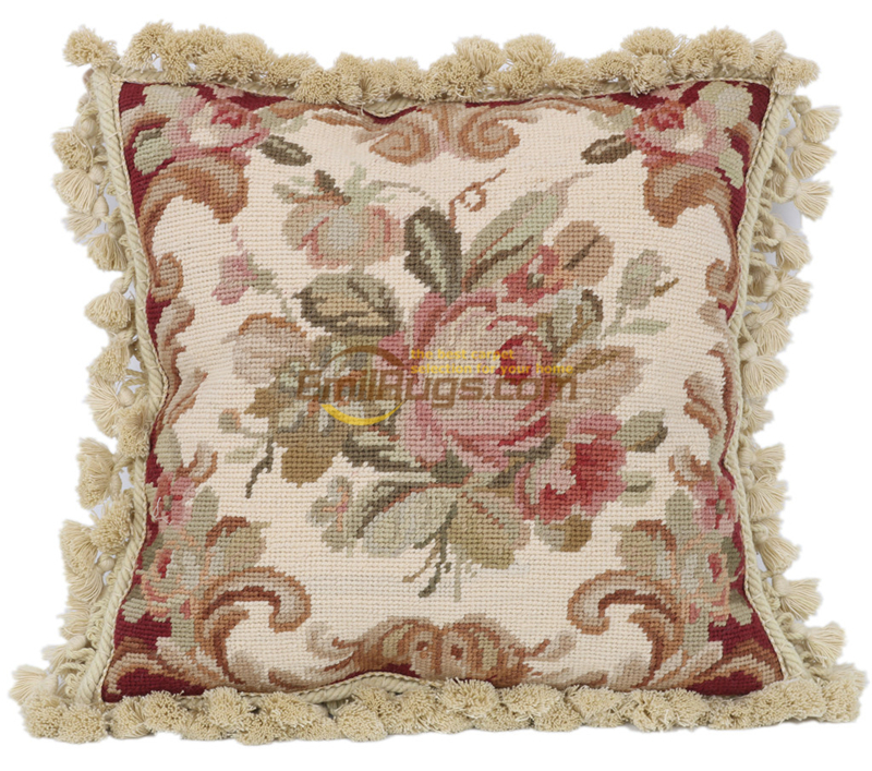 19 French Country Chicshabby Vintage Needlepoint Sofa Decorative Woolen Woolenen Needlepoint Handmade Pillows Rose And Bud Super Sale 1191df Cicig