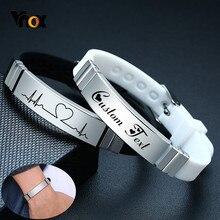 Vnox-pulsera de silicona para hombre y mujer, brazalete con placa de identificación de acero inoxidable, servicio personalizado, Unisex