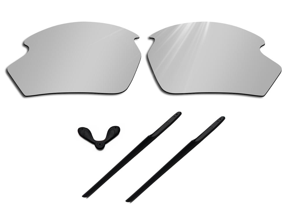 Glintbay 100% Precise-Fit Silver Replacement Lenses And Black Rubber Kit For Rudy Project Rydon Sunglasses