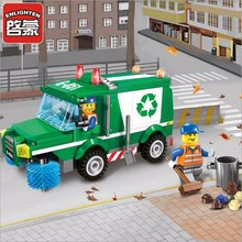 цена на Legoingly City Construction Sweeper Cleaning Garbage Truck Building Blocks Sets Bricks Kits Kids Toys Compatible Gifts