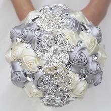 WifeLai EINE Seide Hochzeit Bouquet Nake Rosa Elfenbein Farbe Superb Qualität Diamant Brosche Blume Bouquets de noiva W228 12