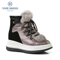 VAIR MUDO New Brand Fashion Snow Boots Shoes Lady Ankle Boots Thick Lining Wool Warm Winter Waterproof Platform Women Boot DX78