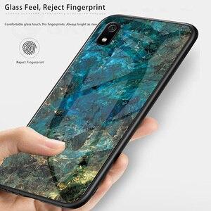 Image 2 - Funda de cristal de lujo para Redmi 7A funda de silicona de vidrio templado 9H funda de teléfono híbrida para Xiaomi funda de Redmi 7