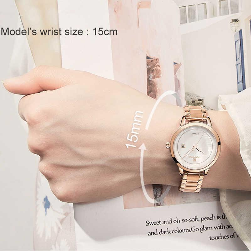 แบรนด์หรู NAVIFORCE Rose Gold นาฬิกาผู้หญิงนาฬิกาข้อมือควอตซ์นาฬิกาแฟชั่นผู้หญิงนาฬิกากันน้ำ Relogio Feminino