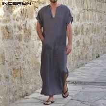 INCERUN размера плюс S-5XL мужские халаты с v-образным вырезом с коротким рукавом сплошной цвет домашняя одежда хлопок винтажные мужские мусульманские Арабские исламские кафтан