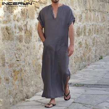 INCERUN Plus Size S-5XL Men Robes V-neck Short Sleeve Solid Color Loungewear Cotton Vintage Men Muslim Arab Islamic Kaftan 2020 women summer red color long sleeve v neck cotton plus size kaftan dress s 5xl