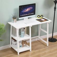 Computer-Desks Study-Tables School-Furniture Movable Two-Shelves Office 4-Wheels White