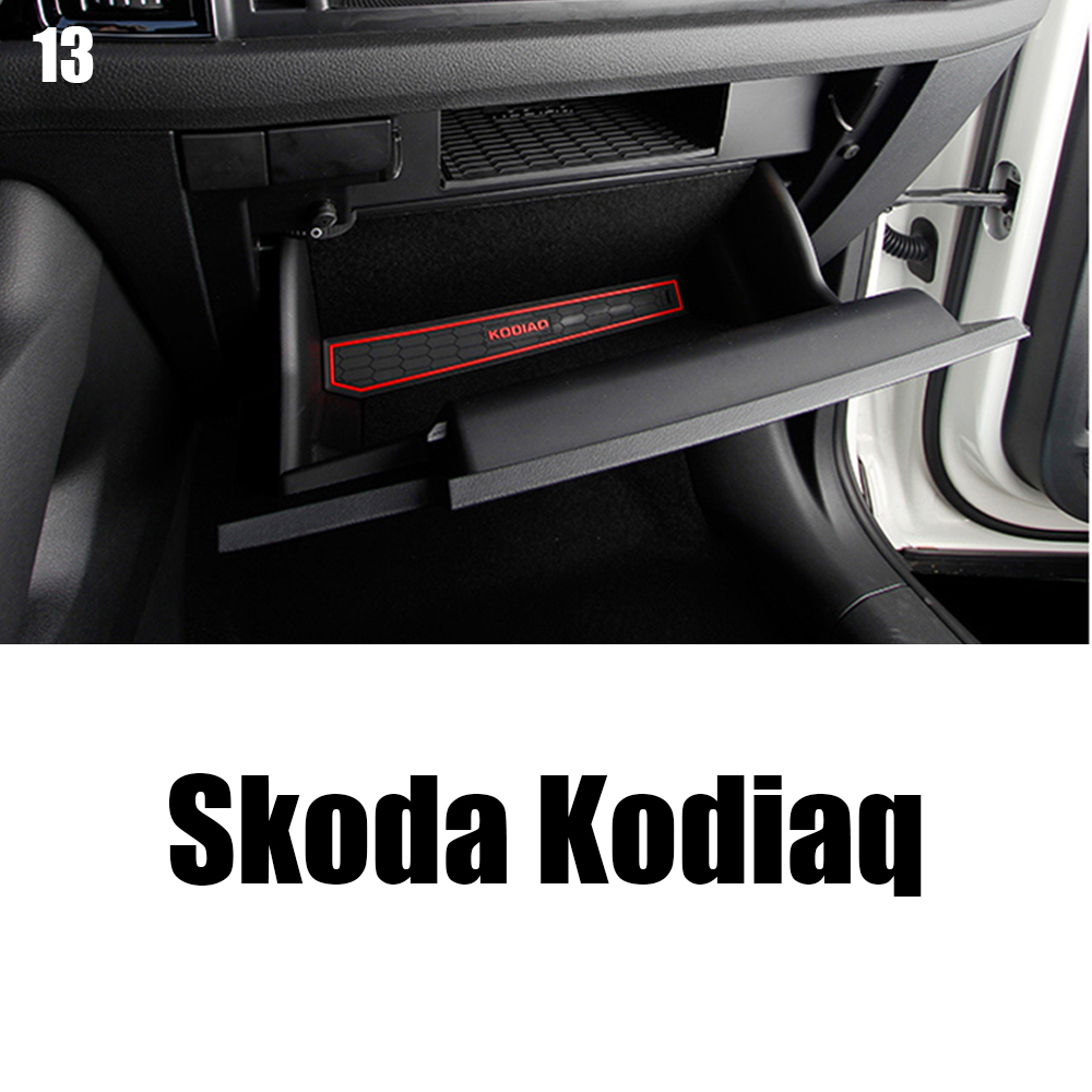 For 2017 2018 2019 Skoda Kodiaq Car Groove Gate Slot Armrest Storage Rubber Non-slip Cup Mat Car Styling Interior Accessories