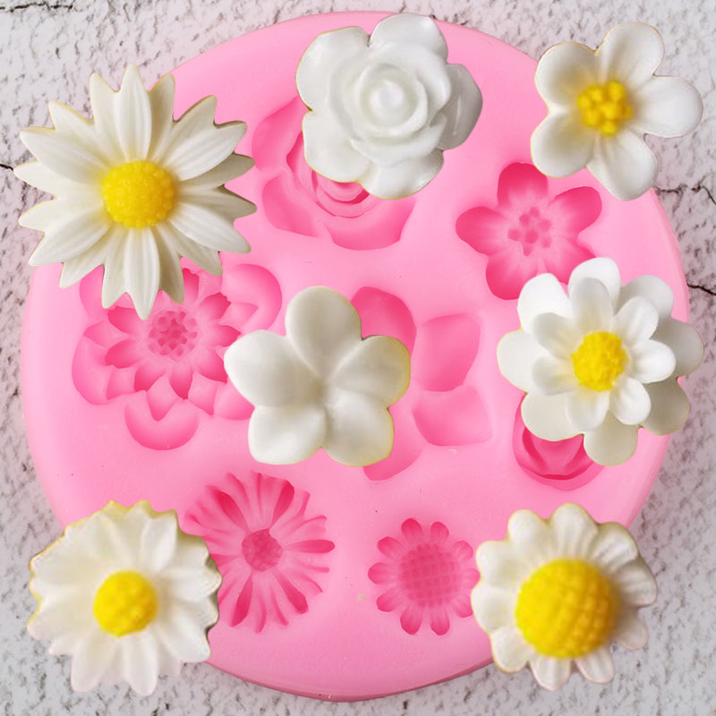 Flower Silicone Molds Plumeria Rose Daisy Chocolate Candy Clay Mold DIY Baking Party Cupcake Topper Fondant Cake Decorating Tool