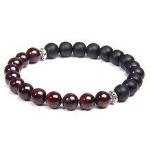 Pulsera con cuentas de piedra Natural roja y granate para hombre y mujer, brazalete con cuentas de ónix, Yoga, sanación, energía, regalo de joyería